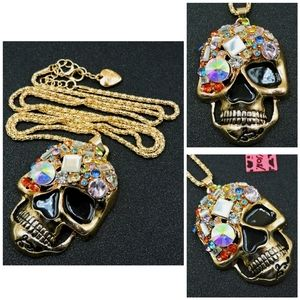 Jewelry - New Bling Colorful Crystal Delicate Skull Betsey J